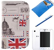 British Style Design PU Leather Full Body Case with Stylus、Protective Film and Soft Pouch for LG L40