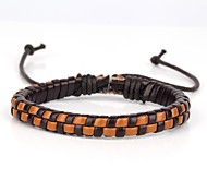 Comfortable Adjustable Men's Leather Hard Bracelet Mosaic Check Dark And Light Brown Braided Leather(1 Piece)