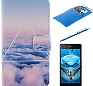 The Sky Clouds Design PU Leather Full Body Case with Stylus、Protective Film and Soft Pouch for Sony Xperia M2