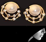 Fashion Korean Diamond the Starry Sky  Pearl Round Earrings #20-1
