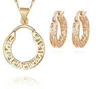 Z&X® European Style 18K Gold Plated Hollow Pendant Necklace Earrings Jewelry Set (1 set)