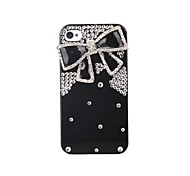 Bling Case Transparent Black And BlackBowKnot TPU Hard Case for iPhone 4/4S