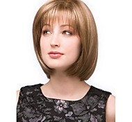 Fashionable Mixed Gold  Short Straight Full Bang Hair Wig