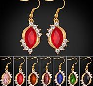 7 colors New Trendy 18K Gold Plated Rhinestone CZ Diamond Dangle Earrings Luxurious Fashion Jewelry