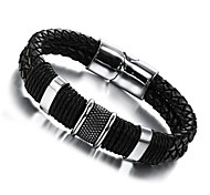 Super Man Leather Hand Weaving Double Titanium Steel Men's Bracelet