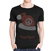 Personalized Rhinestone T-shirts Christmas Hat Pattern Men's Cotton Short Sleeves