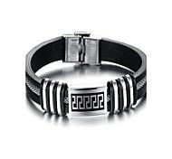 Fashion Delicacy Men's Black and Silver Alloy Leather Bracelet(1 Pc)