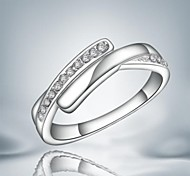 Fashion Simple Silver Zircon Band Ring For Women (1 pc)