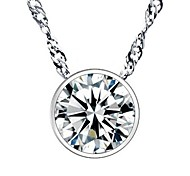 925 Sterling Silver Single Diamond Circular Necklace With Water Wave Necklace