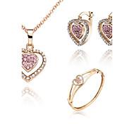 Z&X® European Style 18K Gold Plated Heartshaped Necklace Earrings And Bracelets Jewelry Set (1 set)