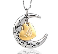 I Love You To The Moon And Back Necklace For Mates High Quanlity Silver (Random Silver Chain)