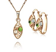Z&X® European Style 18K Gold Plated Olivary Pendant Necklace Earrings Jewelry Set (1 set)