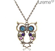 Lureme® Antique Copper Alloy Zircon Owl Pattern Necklace