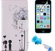 Couples Dandelion Pattern PU Leather Full Body Cover with Pig Stand and Protective Film for iPhone 5C