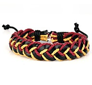 Comfortable Adjustable Woen's Leather Soft Bracelet Red Yellow Braided Leather(1 Piece)