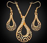u7® g colgante collar vintage cuelga los pendientes fijan oro verdadero 18k plateó Rhinestone austríaco de la joyería de moda