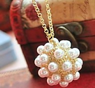 Love Is You Fine Pearl Ball Sweater Chain Pendant Necklace