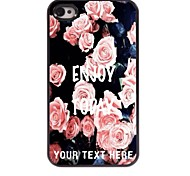 Personalized Phone Case - Elegant Pink Rose Design Metal Case for iPhone 4/4S