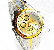 Men's Round Dial Steel Band Quartz Fashion Watch (Assorted Colors)