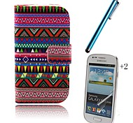 Painting PU Leather Full Body Case with Touch Pen and Protective Film 2 Pcs for Samsung Galaxy Trend Lite S7390 S7392