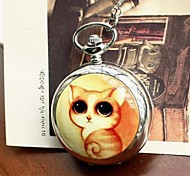 Women's Large Cute Cat Quartz Movement Necklace Watch with Mirror