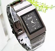 mostrador quadrado relógio banda liga de quartzo moda masculina