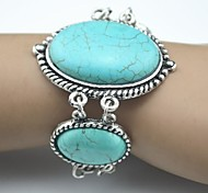 Toonykelly Vintage Look Antique Silver Oval Turquoise Stone Bracelet(1 Pc)