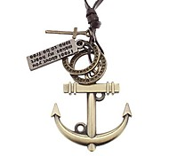 Men's Anchor Many Parts Adjustable Leather Necklace
