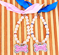 Dog Collar Adjustable/Retractable / With Bell / Rhinestone Blue / Pink Plastic