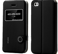 serie limón aiqaa ™ pu ventana de cuero caja del teléfono visualización flash tapa flip ultra-delgado con soporte para el iPhone 4 / 4s