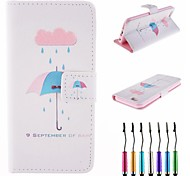 Rain Umbrella Pattern PU Leather Full Body Case with Touch Pen for iPhone 6