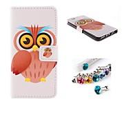 grands yeux de hibou cuir PU cas de tout le corps avec la fiche à la poussière avec fente pour carte et Stand pour iPhone 6 plus