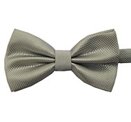 moda prata cor sólida gravata borboleta masculino