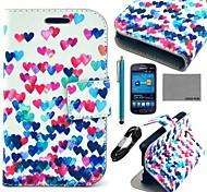 Coco fun® padrão de coração colorido estojo de couro pu com filme e cabo e stylus para samsung tendência Lite 7390/7392