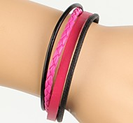 Simple Adjustable Women's Leather Bracelet Very Cool Pink And Black Twist Leather (1 Piece)