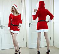 Aquecimento de veludo, Mulheres V-Neck Hoodie Christmas Costume