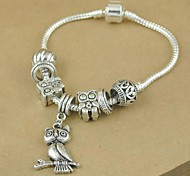 1PCS Fashion National Wind  Carved Beads Silver Owl Bracelet