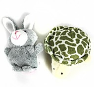 Finger Sleeve Tortoise + Rabbit Plush Doll - Grey + White + Pink + Green(2 Pcs)