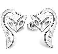 925 Sterling Silver Fox Stud Earrings