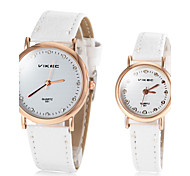 Couple's Round Dial PU Band Quartz Wrist Watch (Assorted Colors)