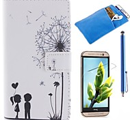 Couples Dandelion Pattern PU Leather Full Body Case with Stylus、Protective Film and Soft Pouch for  HTC One M8