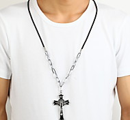 Religious Jesus Zinc Alloy Black Silver Crucifix Cross Pendant Necklace