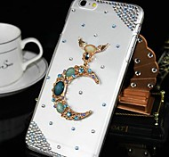 Fashion Transparent Moon Rhinestone PC Hard Case for iPhone 6