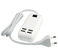 4 USB Port AC Power Charger Adapter for iPad/iPhone/Samsung (15W DC5V 6A,100~240V EU Plug,1.5m)