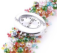 Women's Analog Plastics Beads Strap Design Round Dial Style Quartz Watch(Assorted Colors)
