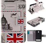Vintage Postcard Design PU Leather Full Body Case with Stand and Card Slot for  Sony Xperia E1 experia D2004 / D2005