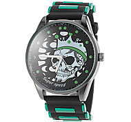 V6® Men's Skull Pattern Black Silicone Band Quartz Wrist Watch (Assorted Colors) Cool Watch Unique Watch