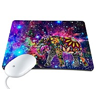 Elonbo Bright Stars and Exotic Elephant PU Leather Anti-slip Mousepad Computer Mouse Pad