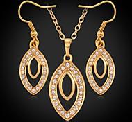 collares u7® colgantes pendientes de gota de oro verdadero plateado 18k collares de cristal de diamante de imitación de la joyería de