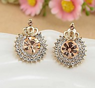 Shining Diamond Golded Crown Earrings